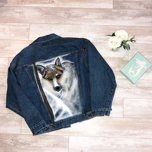 AMAZING Vintage Denim Wolf Jacket